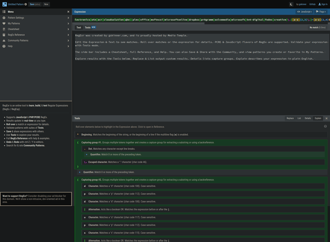 Screenshot_2021-01-20 RegExr Learn, Build, Test RegEx